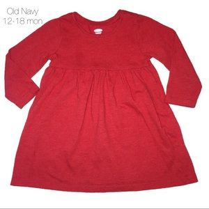 Old Navy Red Long T Shirt Sleeve Dress 12-18 mon